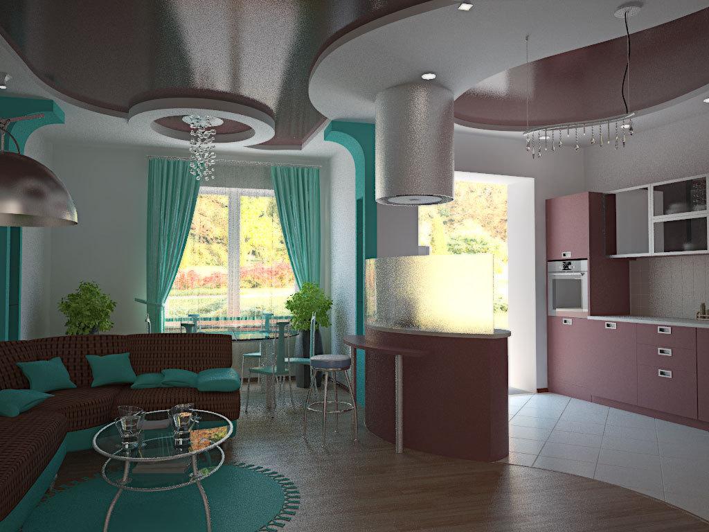 Дизайн кухни студии в своем доме